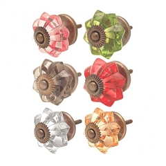 Coloured glass knobs