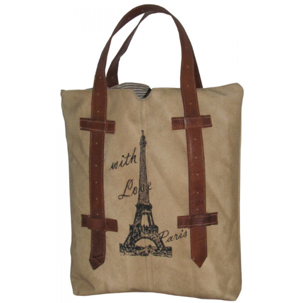Eiffel Tower Leather Canvas Bag