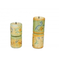 Wooden Pillar Candle Holder S/2