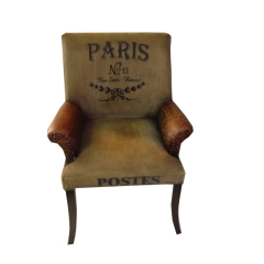 Canvas & Leather Armchair
