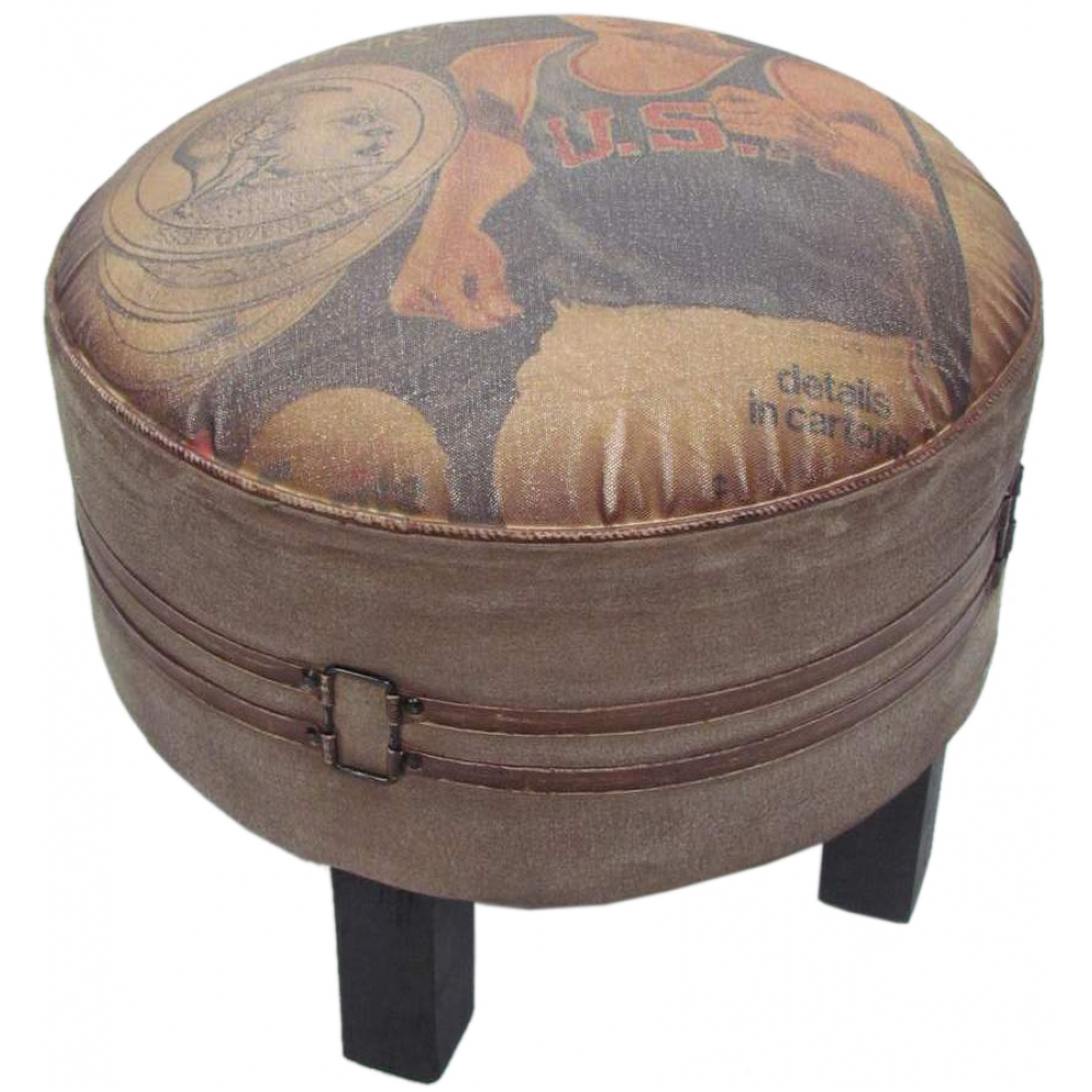 Canvas Ottoman With Tuffet Seat