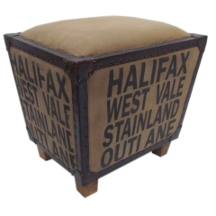 Leather  & Canvas Ottoman