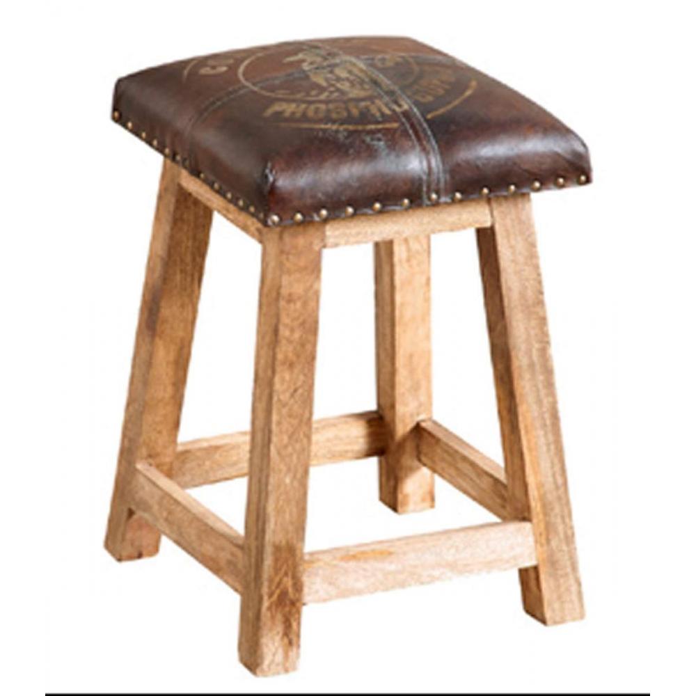 Leather & wood Stool