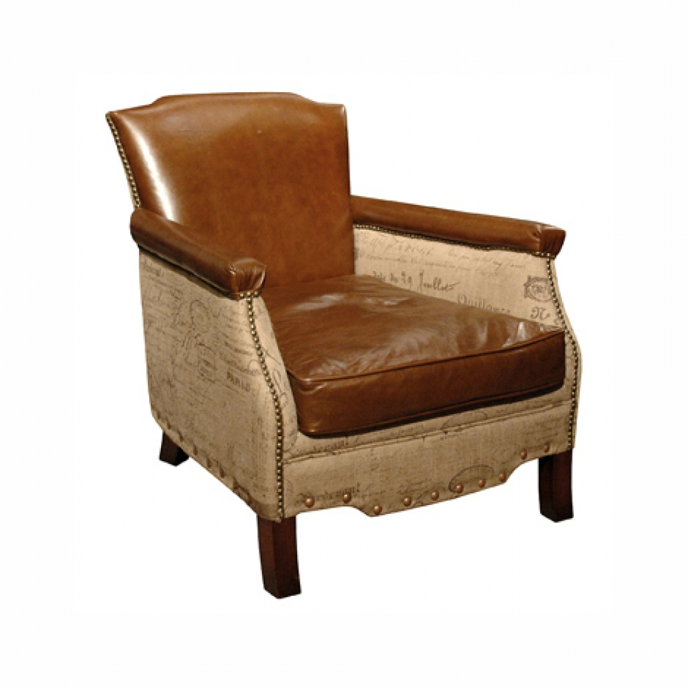 Leather Canvas Armchair