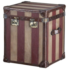Striped Canvas & Leather Trunk