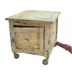 Rustic Bedside on Wheels