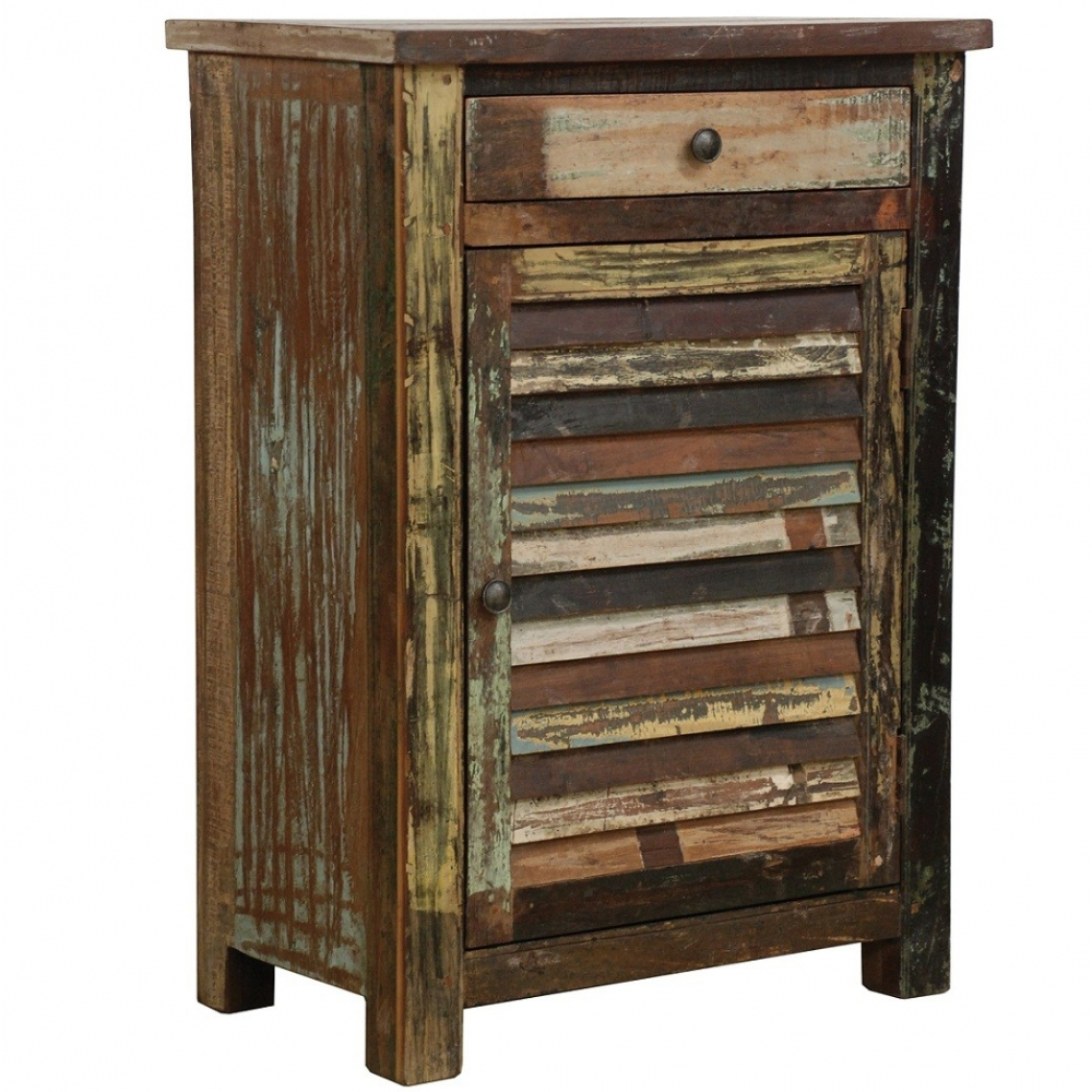 Rustic Multi Color 1 Door Cabinet