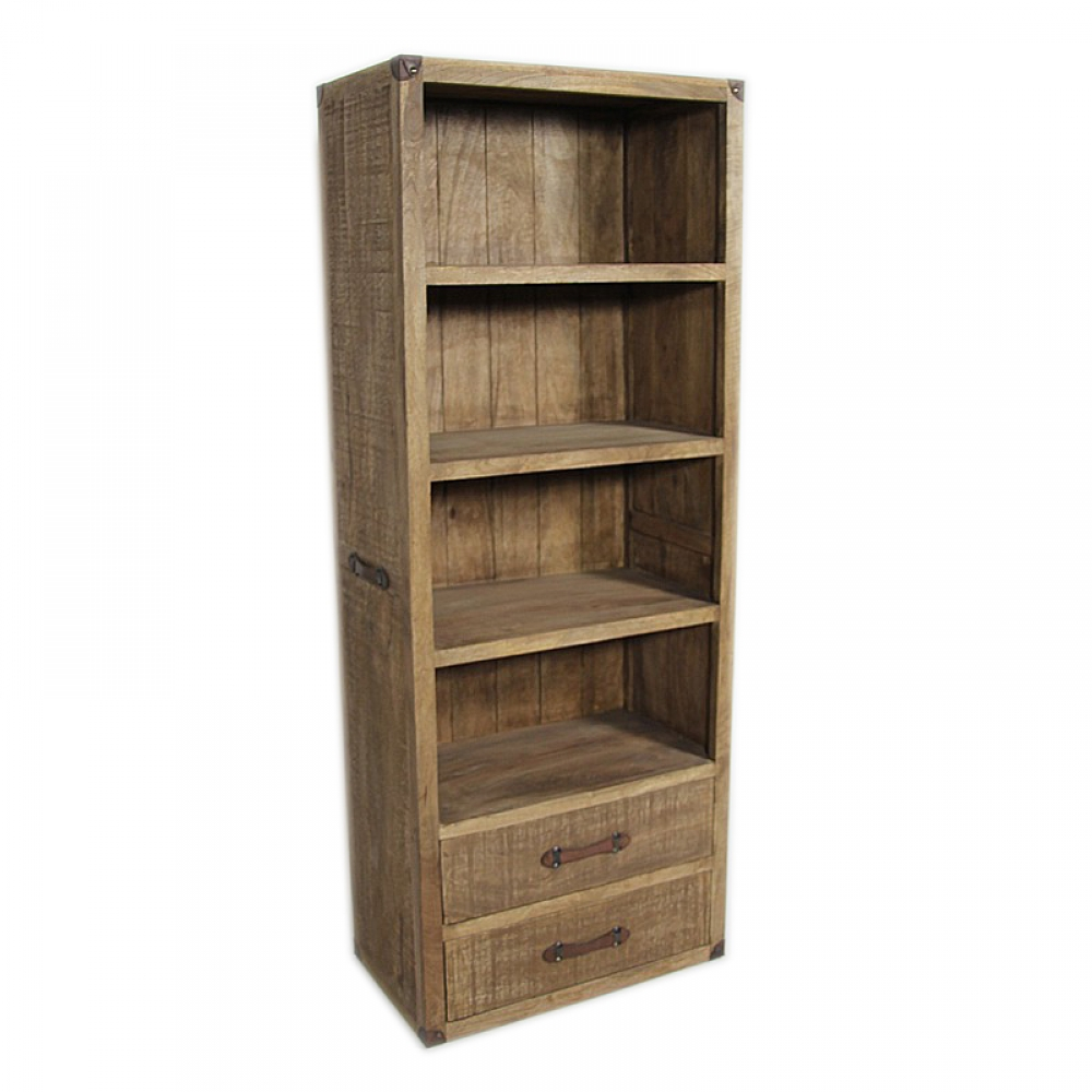 Natural Raw Wood Bookshelf with 2 Drawers