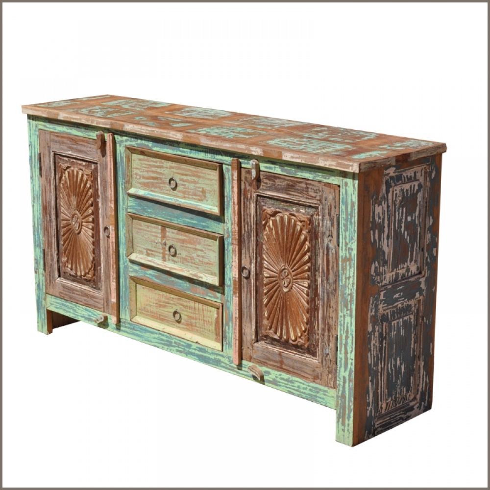 Distressed 3 Drawer 2 Door Sideboard