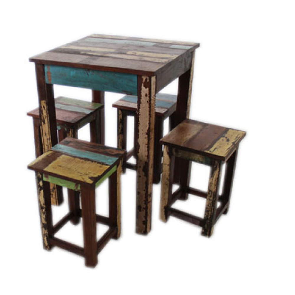 Reclaimed Table with Stools
