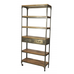 Industrial Bookshelf with Metal Drawers