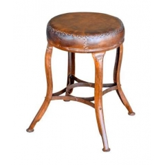 Iron & Leather Stool